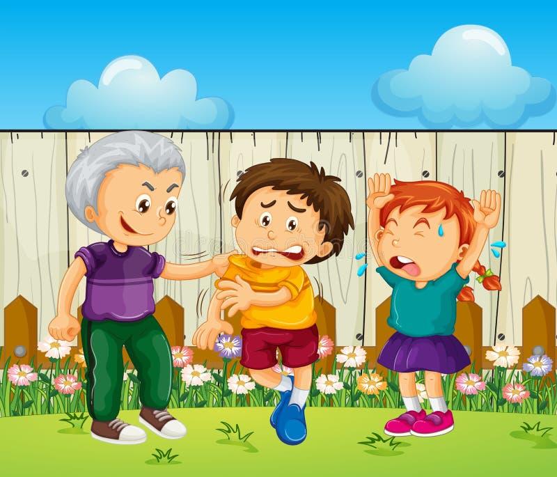 Мальчик задиры выбирая вверх на других детях бесплатная иллюстрация