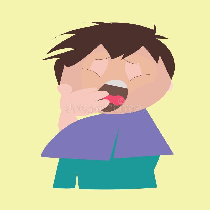 мальчик зевая стоковое фото