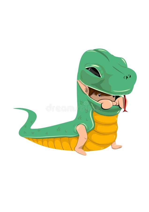 Мальчик змейки иллюстрация вектора