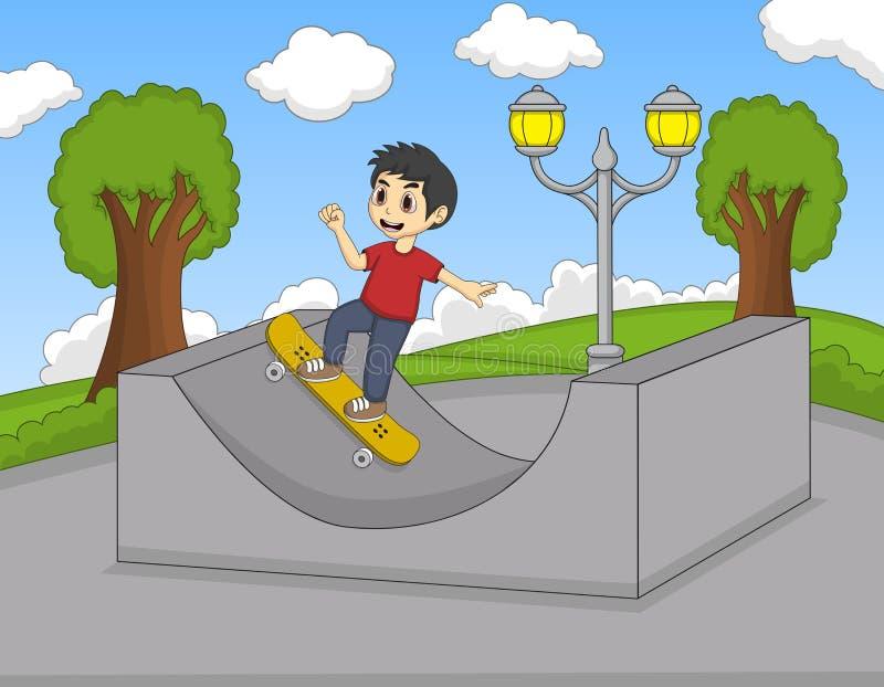Мальчик играя доску конька в шарже парка иллюстрация штока