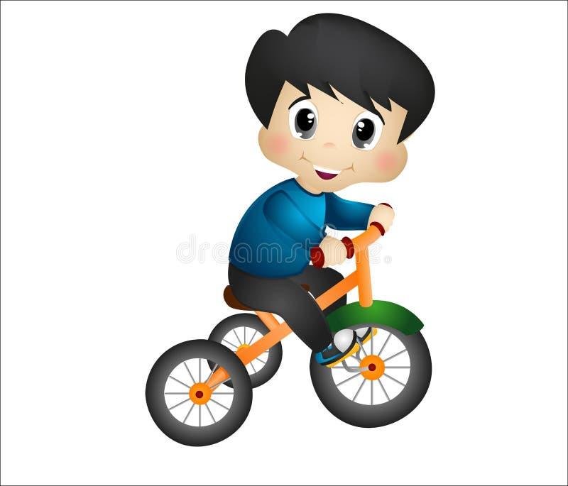 Мальчик играя с его трициклом бесплатная иллюстрация