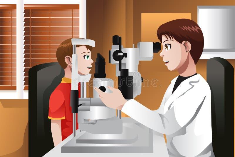 Мальчик имея его глаза быть проверенным на офисе доктора бесплатная иллюстрация