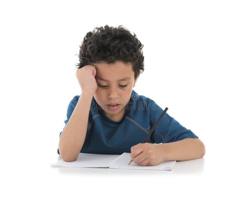 Мальчик исследования трудный стоковое изображение