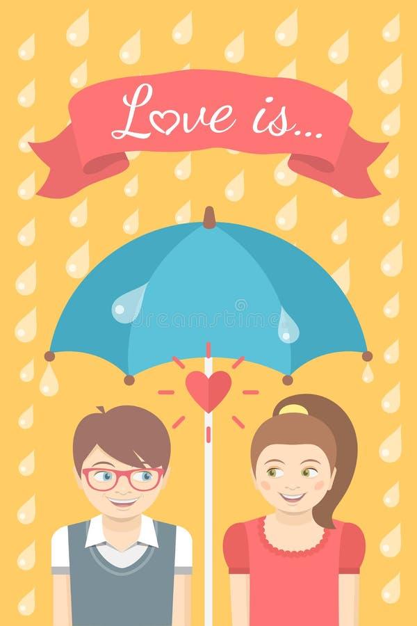 Мальчик и девушка в влюбленности под зонтиком в дожде иллюстрация вектора