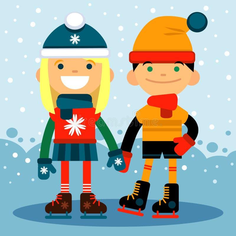 Мальчик и девушка в коньках на катке Спорт и воссоздание зимы Дизайн иллюстрации вектора плоский иллюстрация штока