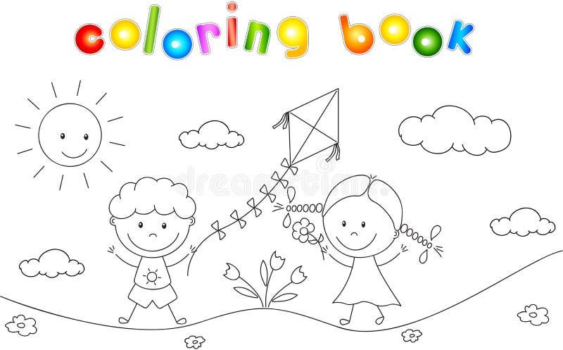 Мальчик и девушка играя в луге и запуская змея col иллюстрация штока