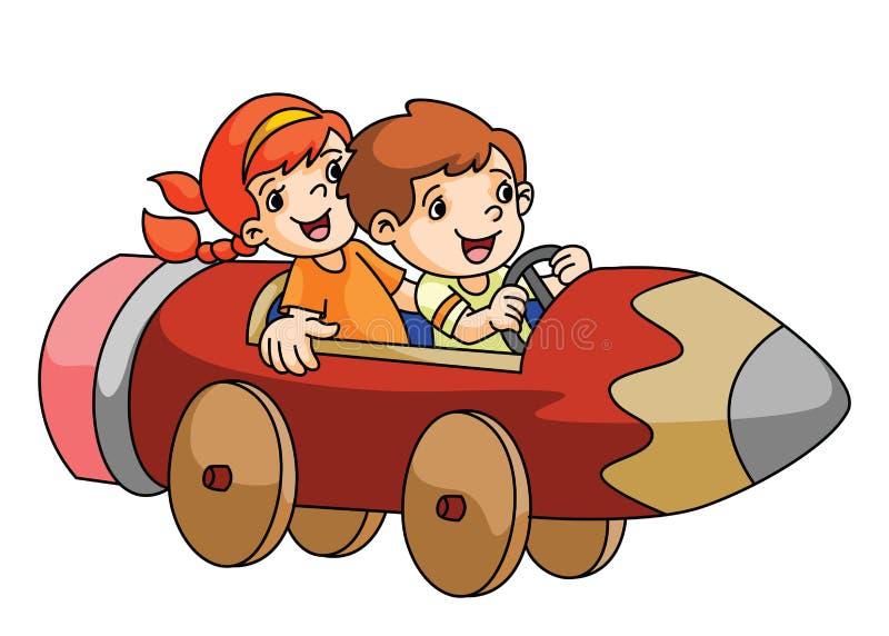 Мальчик и девушка играя с автомобилем карандаша иллюстрация штока