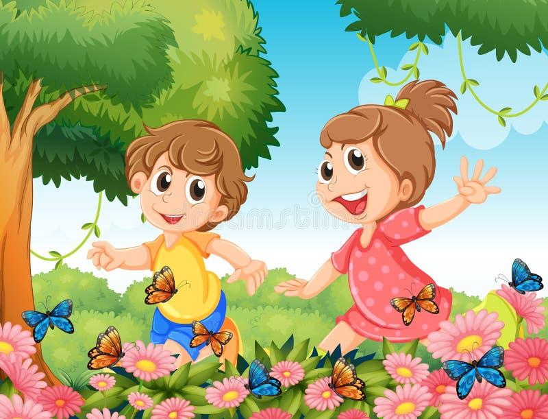 Мальчик и девушка играя с бабочками в саде бесплатная иллюстрация