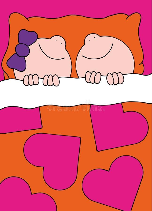 Мальчик и девушка иллюстрации спать в кровати стоковое фото