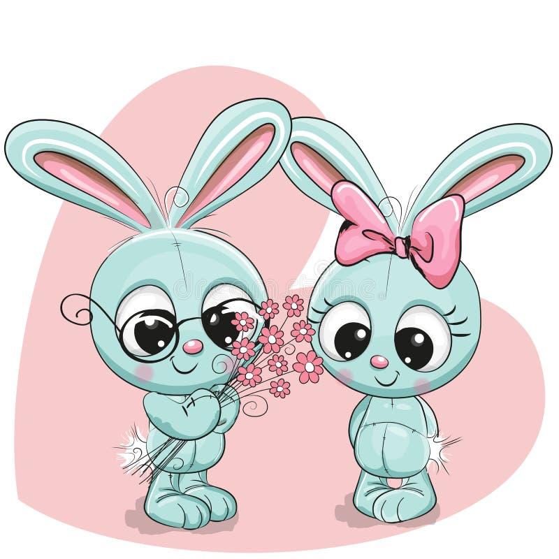 Мальчик и девушка кролика иллюстрация штока