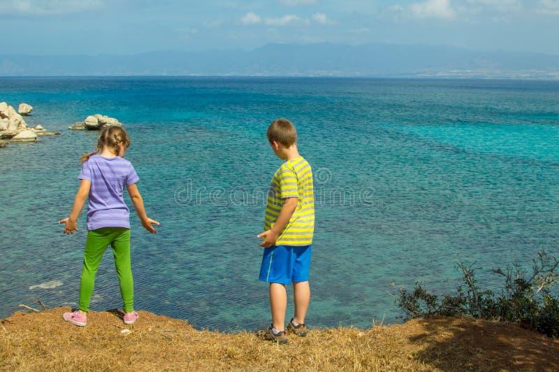 Мальчик и девушка наблюдая море стоковое фото rf