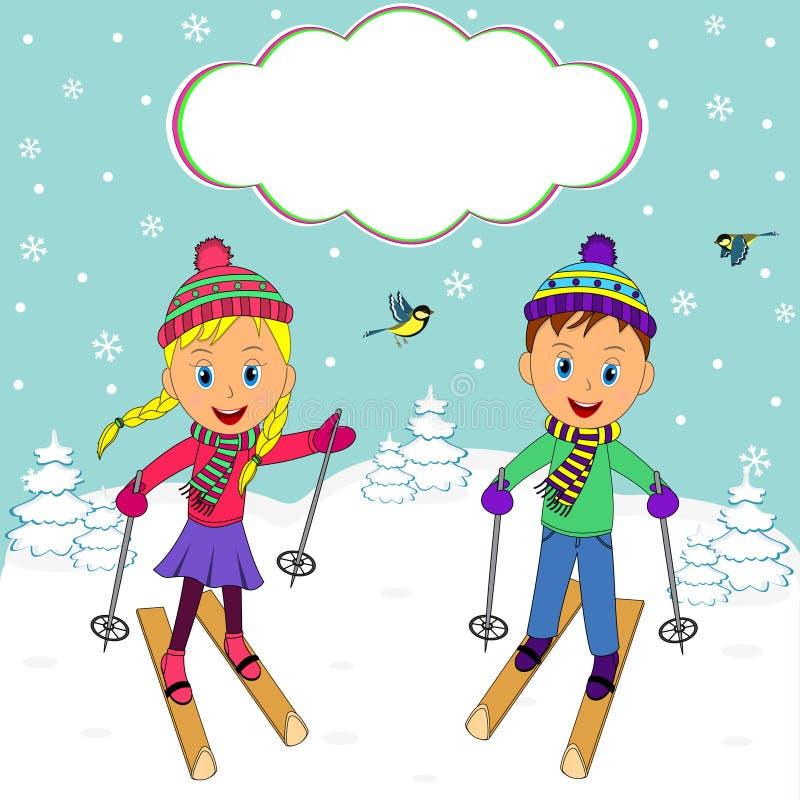 Мальчик и девушка на катании на лыжах на предпосылке зимы иллюстрация вектора