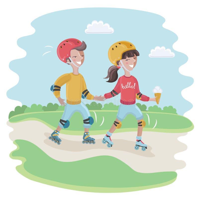 Мальчик и девушка, нося шлем, пусковые площадки колена, пусковые площадки локтя ролик-конек иллюстрация штока