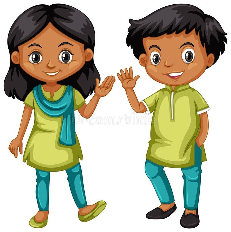 Мальчик и девушка от Индии в зеленом и голубом обмундировании иллюстрация вектора