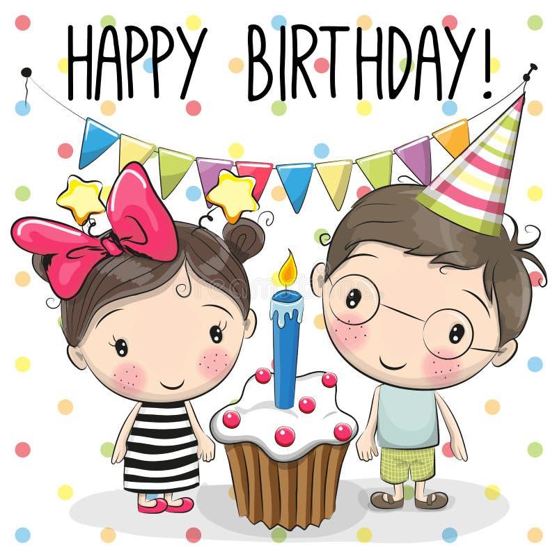 Мальчик и девушка поздравительной открытки иллюстрация вектора