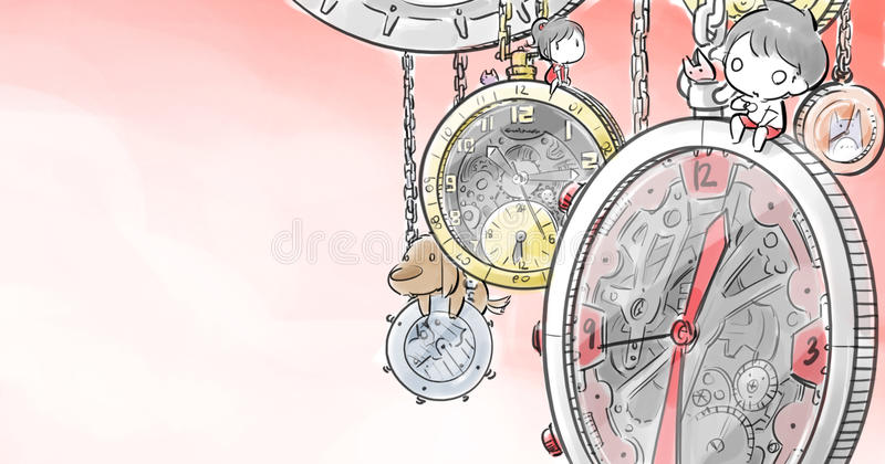 Мальчик и девушка распологая на большие часы иллюстрация штока
