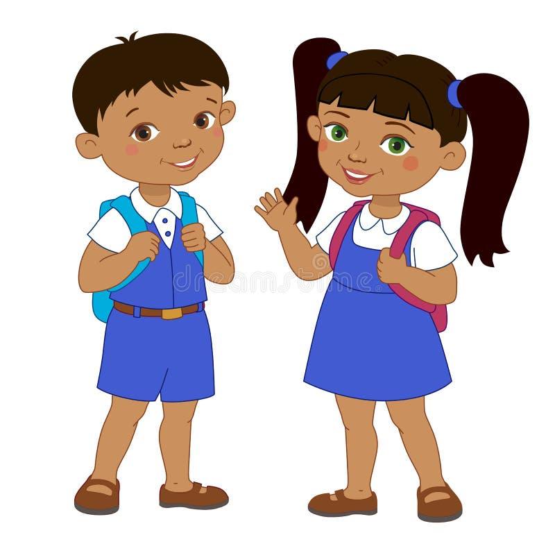 Мальчик и девушка с зрачком рюкзаков остаются школой шаржа иллюстрация штока