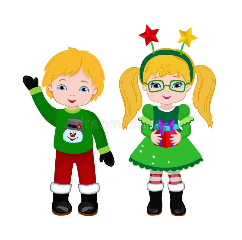 Мальчик и девушка с костюмом рождества иллюстрация штока