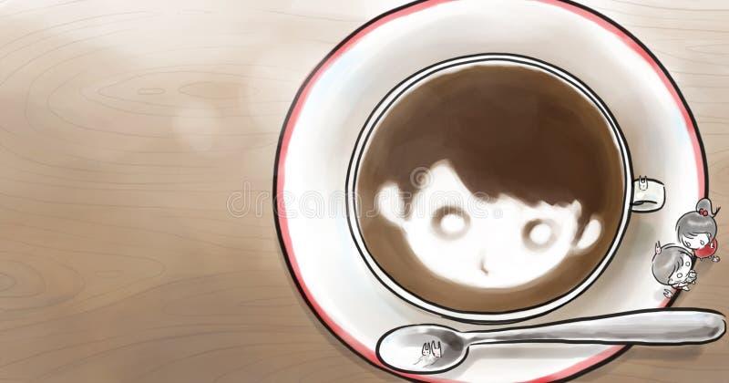 Мальчик и девушка с чашкой кофе на таблице иллюстрация вектора