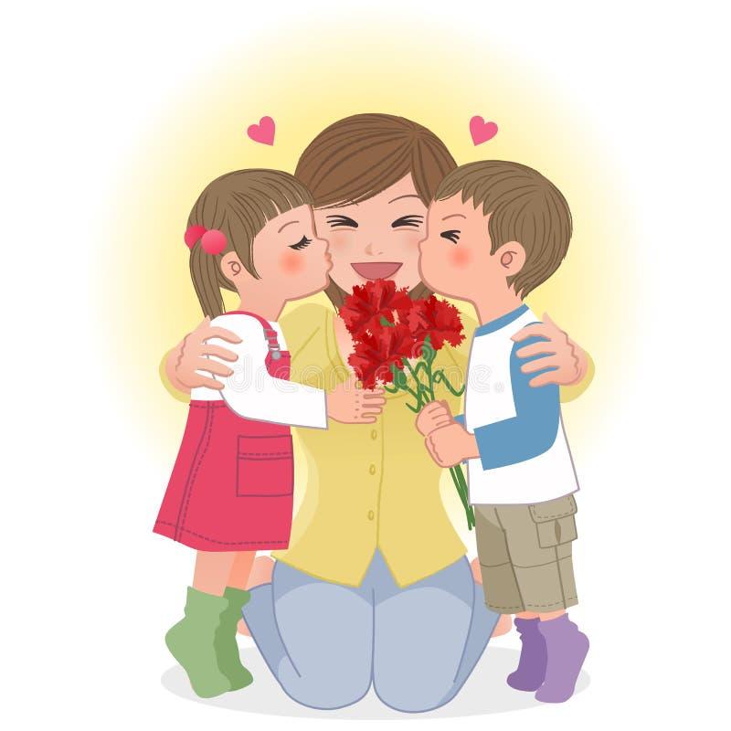 Мальчик и девушка целуя маму иллюстрация вектора