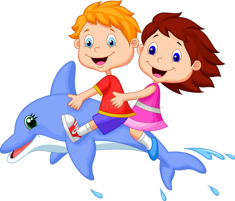 Мальчик и девушка шаржа ехать дельфин иллюстрация вектора