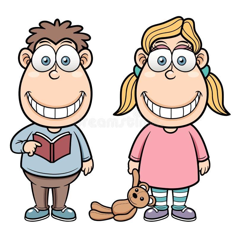 Мальчик и девушка шаржа иллюстрация вектора
