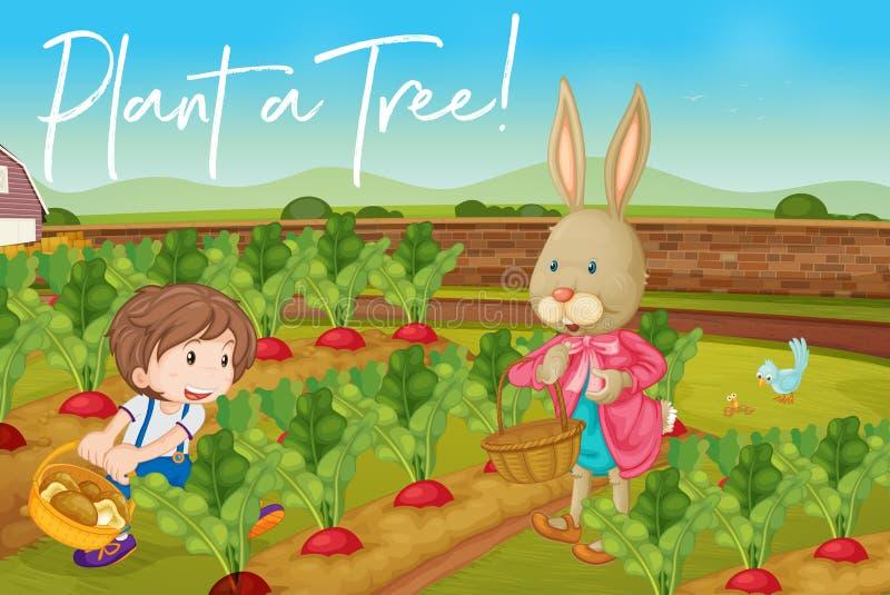 Мальчик и зайчик в огороде и фразе засаживают дерево бесплатная иллюстрация