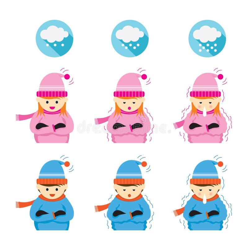 Мальчик и замерзать и холод девушки бесплатная иллюстрация