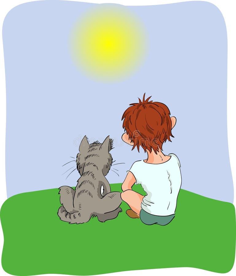 Мальчик и кот стоковое фото rf