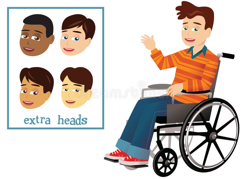 Мальчик и кресло-коляска бесплатная иллюстрация