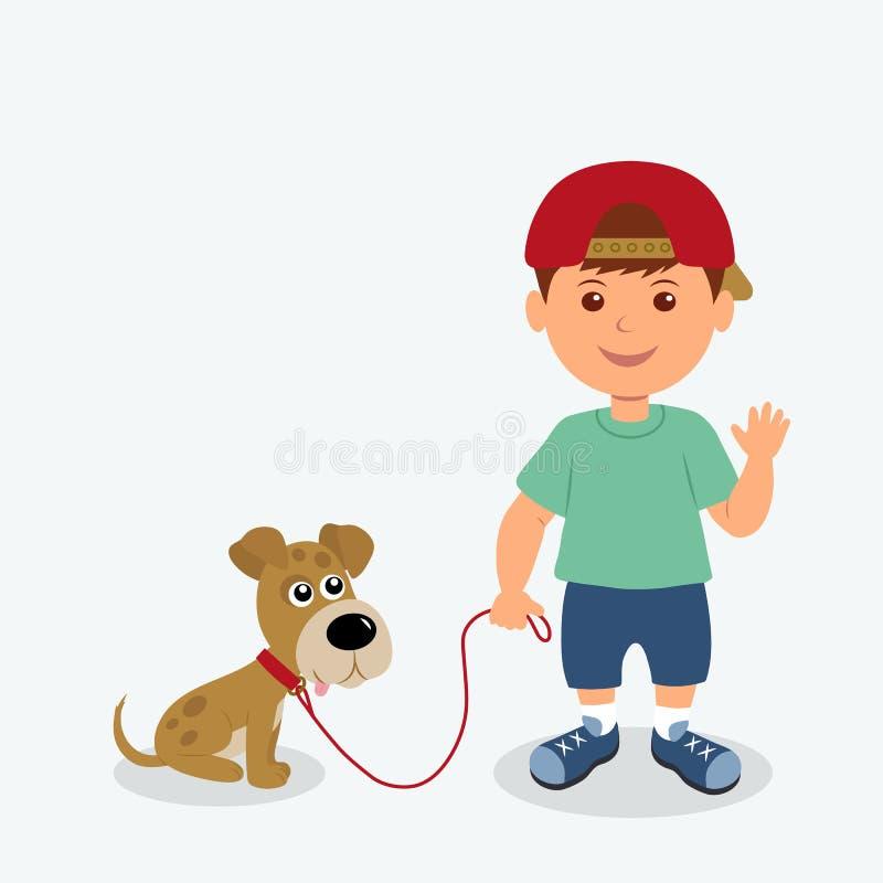 Мальчик и собака изолированные на белой предпосылке Лучшие други ребенка и щенка иллюстрации вектора иллюстрация штока