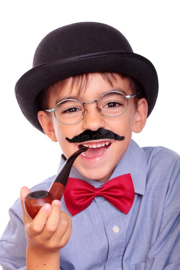 Мальчик и усик стоковая фотография rf
