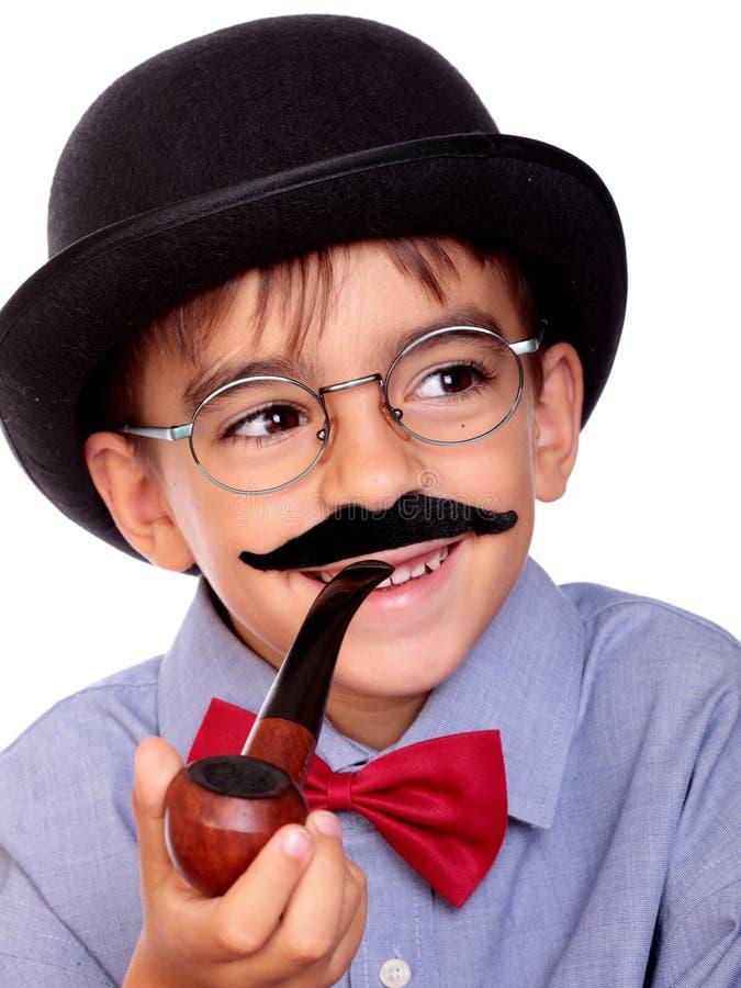 Мальчик и усик стоковое изображение