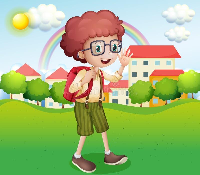 Мальчик идя домой от школы иллюстрация штока