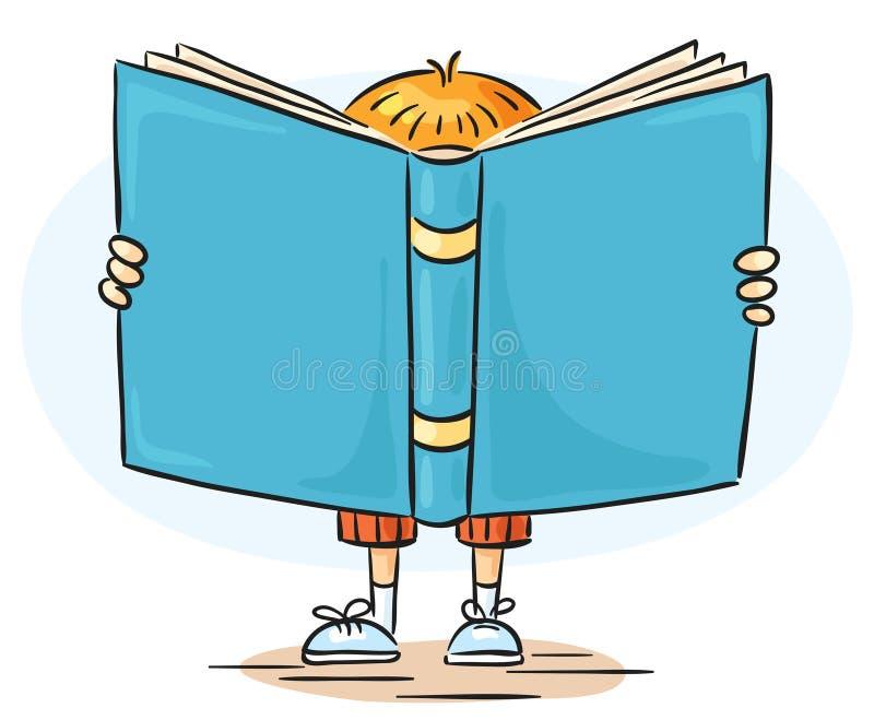 Мальчик книга чтения большая иллюстрация вектора