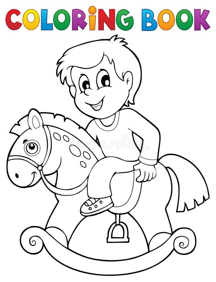 Мальчик книжка-раскраски на тряся лошади иллюстрация штока