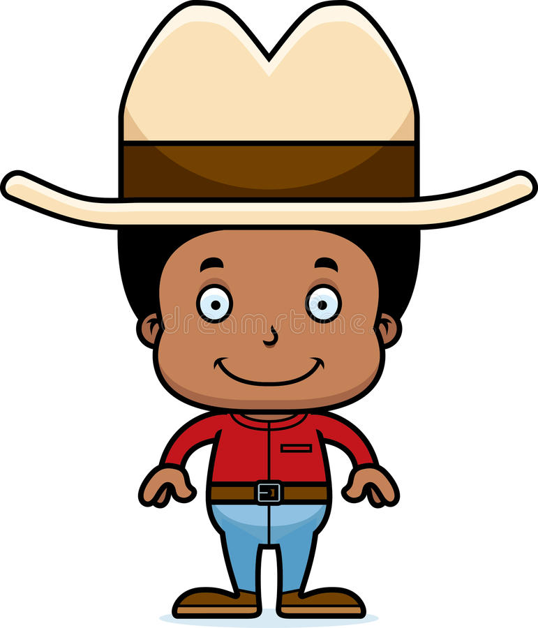 Мальчик ковбоя шаржа усмехаясь бесплатная иллюстрация