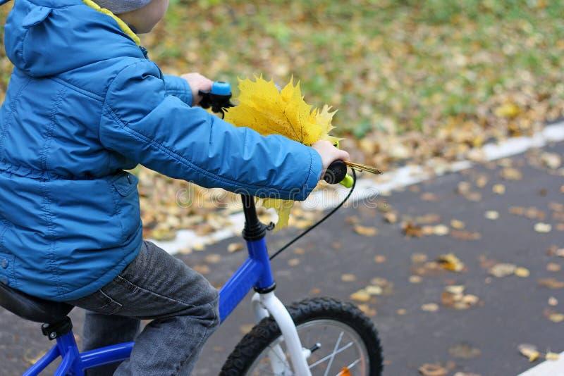 Мальчик который едет его велосипед стоковая фотография rf