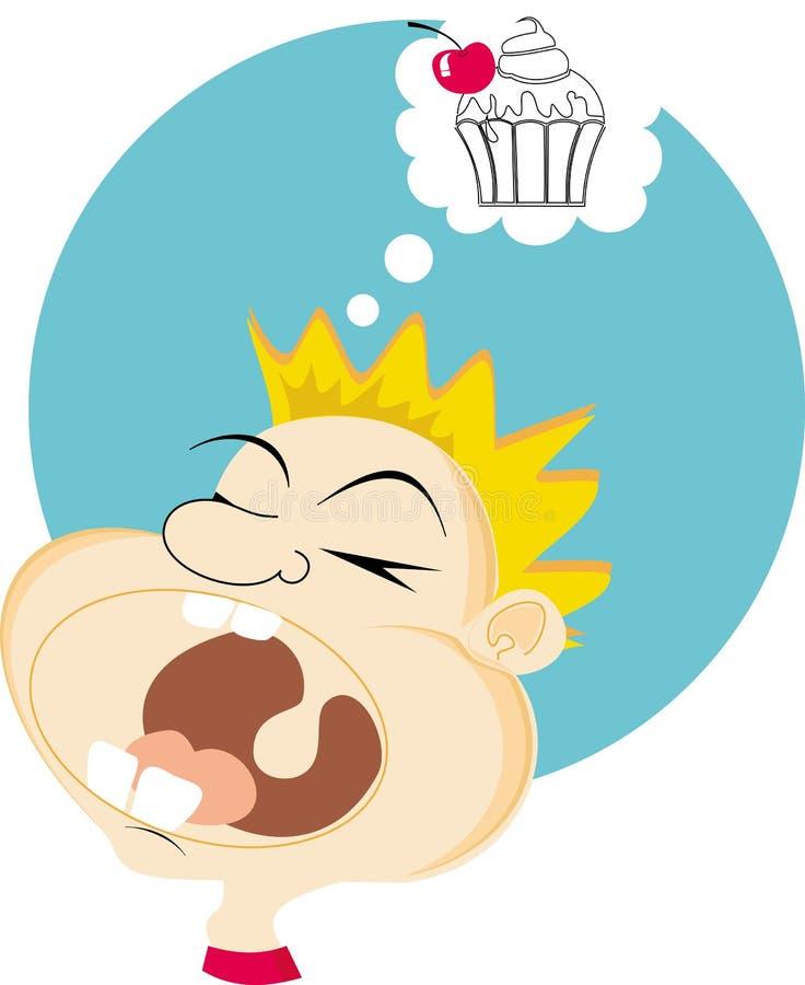 Мальчик который мечтает о торте стоковое изображение rf