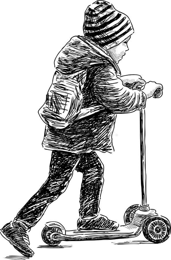 мальчик меньший самокат иллюстрация вектора
