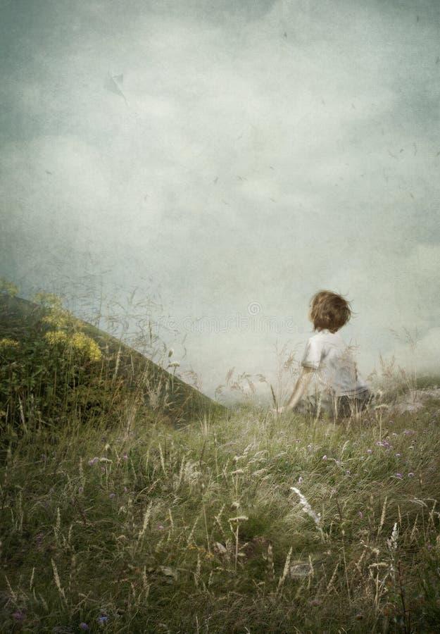 Мальчик наблюдает змея бесплатная иллюстрация