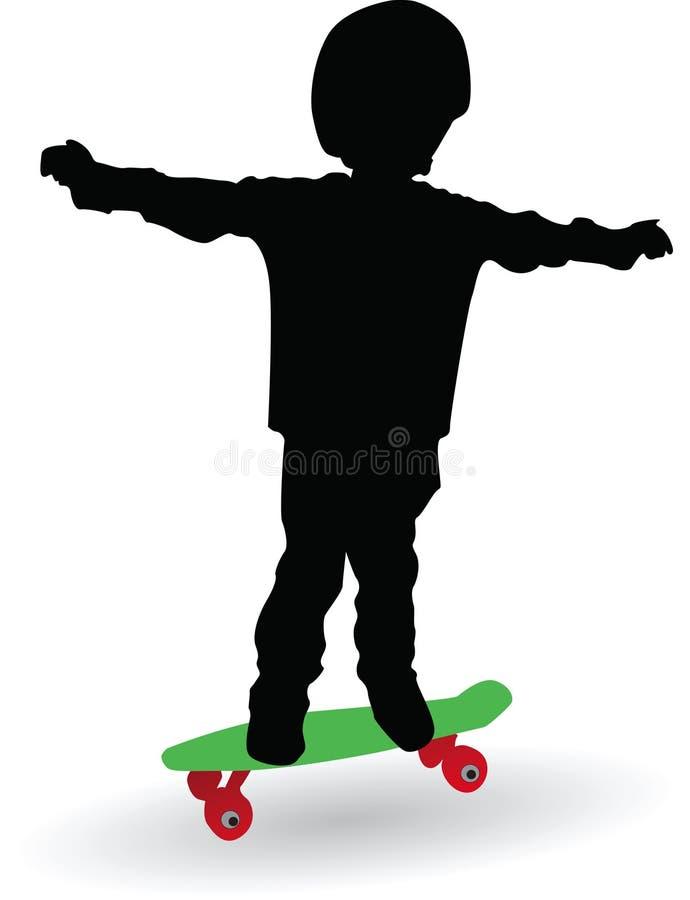Мальчик на доске конька иллюстрация штока