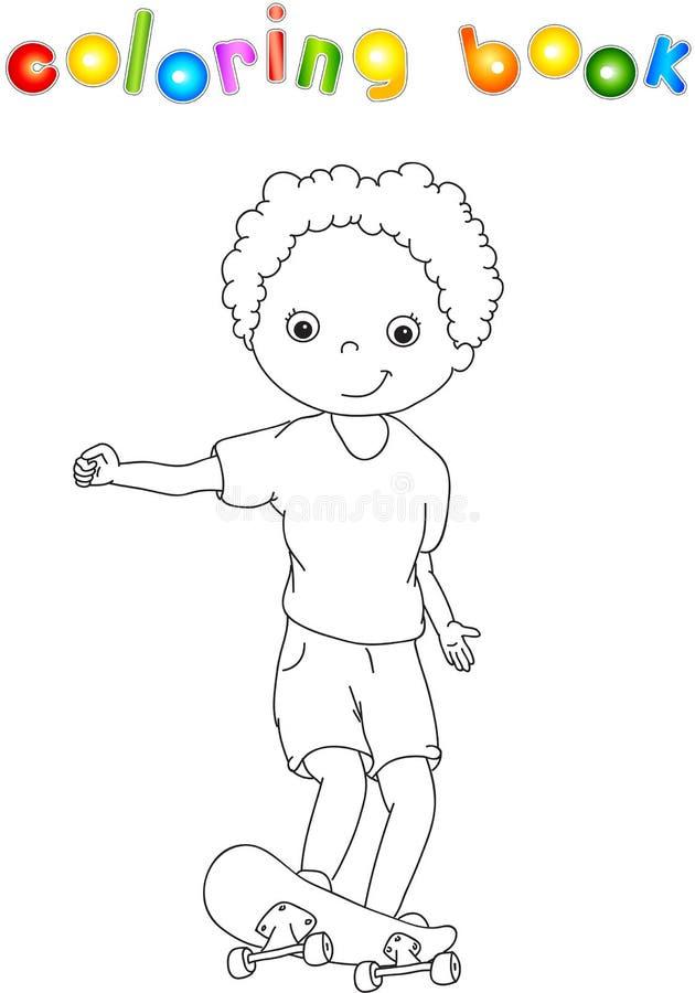 Мальчик на скейтборде иллюстрация штока