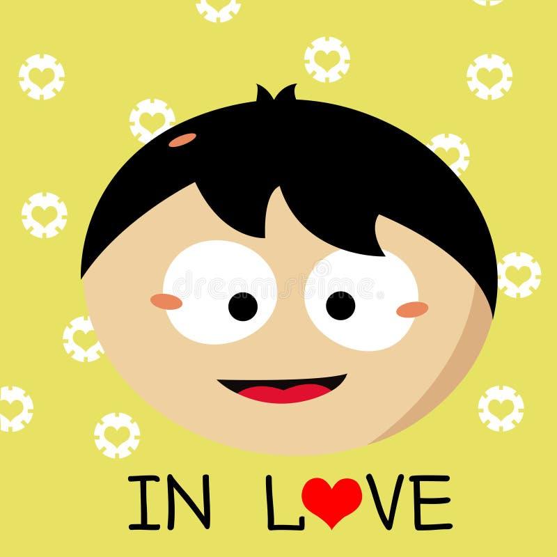 Мальчик падая в шарж влюбленности иллюстрация вектора