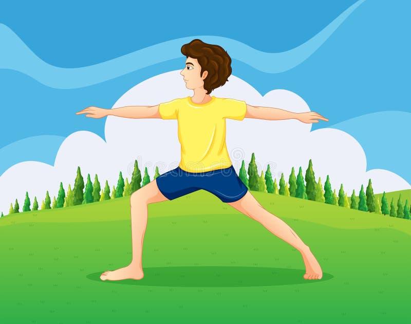 Мальчик при желтая футболка делая йогу около сосен бесплатная иллюстрация