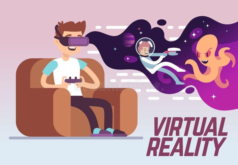 Мальчик при шлемофон играя виртуальную игру имитации реальности 3d Концепция вектора развлечений цифров иллюстрация вектора