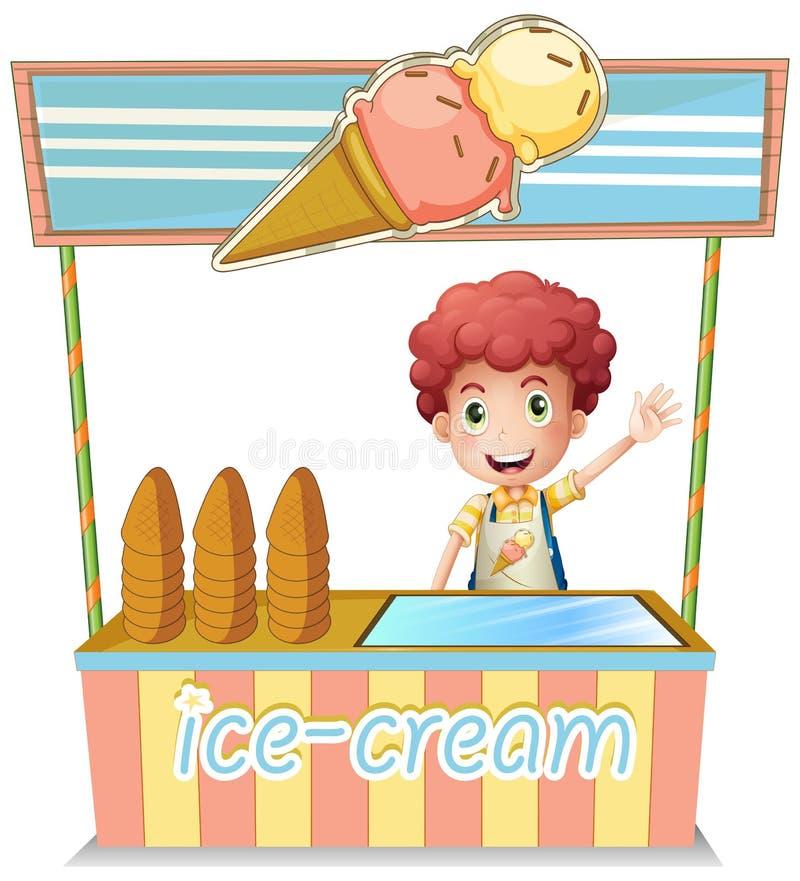 Мальчик продавая мороженое бесплатная иллюстрация