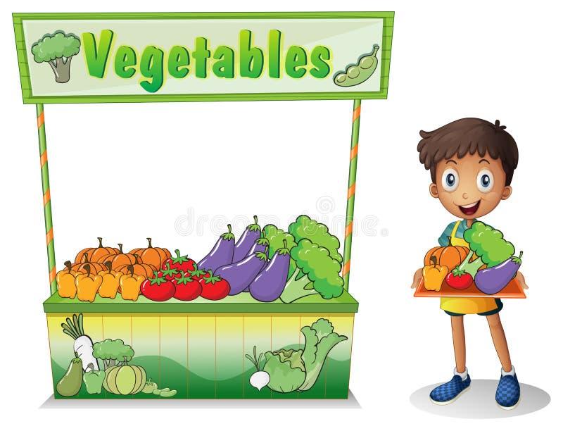 Мальчик продавая овощи иллюстрация штока
