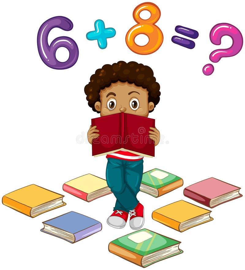 Мальчик разрешая математическую проблему иллюстрация вектора