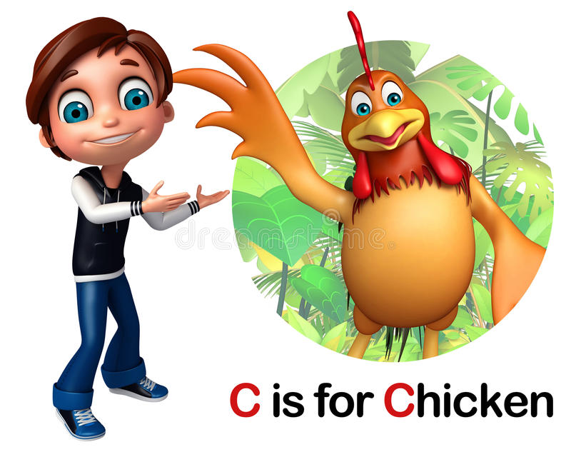 Мальчик ребенк указывая цыпленок иллюстрация штока